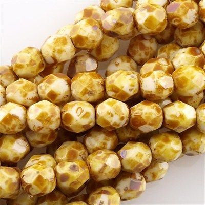 50 Czech Fire Polished 8mm Round Bead Opaque White Picasso (03000T)