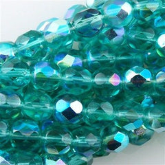 50 Czech Fire Polished 8mm Round Bead Light Teal AB (60210X)