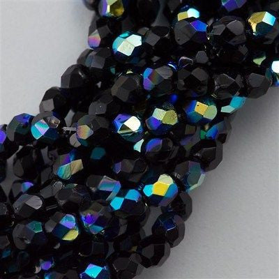 100 Czech Fire Polished 3mm Round Beads Jet AB (23980X)