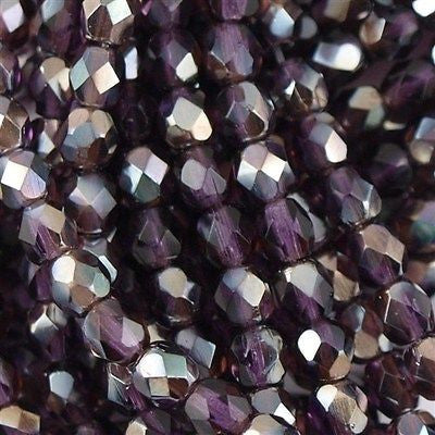 100 Czech Fire Polished 4mm Round Bead Tanzanite Celsian (20510Z)