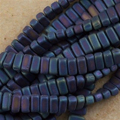 50 CzechMates 3x6mm Two Hole Brick Beads Matte Blue Iris (21135)