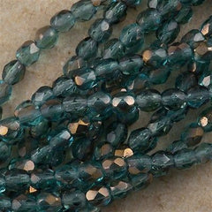100 Czech Fire Polished 4mm Round Bead Copper Teal FP4-60210C