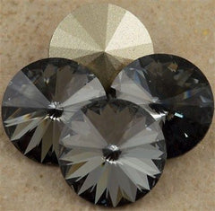 Four Swarovski Crystal 12mm 1122 Rivoli Crystal Silver Night (001 SINI)