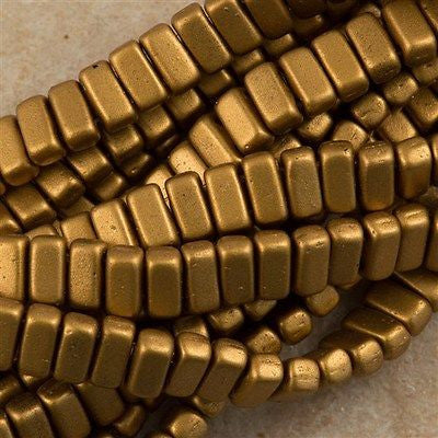 50 CzechMates 3x6mm Two Hole Brick Beads Matte Metallic Goldenrod BR-01730K
