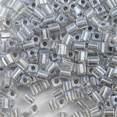 Miyuki 3mm Cube Seed Bead Inside Color Lined Pewter15g (242)
