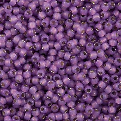 Toho Round Seed Bead 8/0 Silver Lined Milky Amethyst 5.5-inch tube (2108)