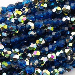 50 Czech Fire Polished 6mm Round Bead Capri Blue Vitral (60080V)