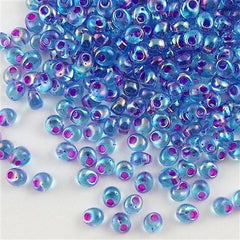 Miyuki 4mm Magatama Seed Bead Fuchsia Inside Color Lined Blue AB 15g MA4-2169