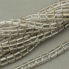 50 CzechMates 6mm Two Hole Tile Beads Silver Lined Crystal T6-00030SL