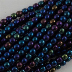 100 Czech 6mm Pressed Glass Round Beads Blue Iris (21435)