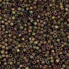 Miyuki 1.8mm Cube Seed Bead Opaque Matte Olive Rose 8g Tube (2035)