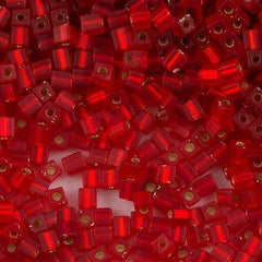 Miyuki 3mm Cube Seed Bead Matte Silver Lined Red 15g SB3-10F