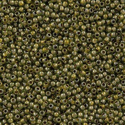 Toho Round Seed Beads 11/0 Peridot Inside Color Lined Gold 15g 11-991