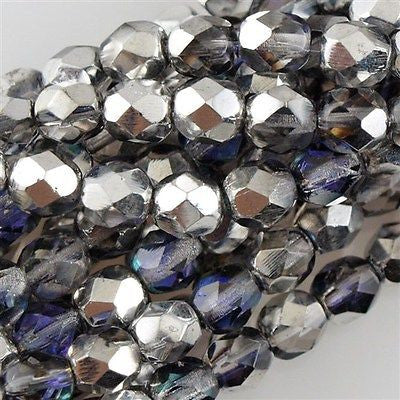 100 Czech Fire Polished 4mm Round Bead Silver Blue Crystal (28003)