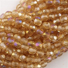 100 Czech Fire Polished 4mm Round Bead Light Topaz Celsian (10020Z)