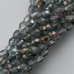 100 Czech Fire Polished 3mm Round Bead Green Crystal Luster (91003)
