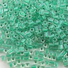 Miyuki 4mm Cube Seed Bead Inside Color Lined Aqua Green 15g SB4-219
