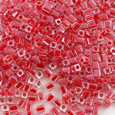 Miyuki 4mm Square Cube Seed Bead Inside Color Lined Red 15g SB4-226