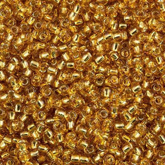 Toho Round Seed Beads 6/0 Silver Lined Medium Gold 5.5-inch tube (22B)
