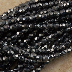100 Czech Fire Polished 3mm Round Bead Hematite (14400)