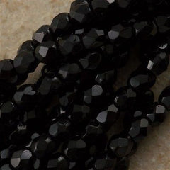 100 Czech Fire Polished 3mm Round Bead Jet Black (23980)