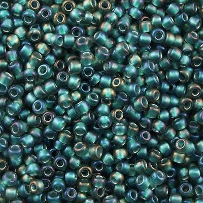 Toho Round Seed Bead 8/0 Transparent Matte Inside Color Lined Forest Green 30g 8-270F