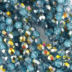 100 Czech Fire Polished 4mm Round Bead Aquamarine Marea (60010MA)