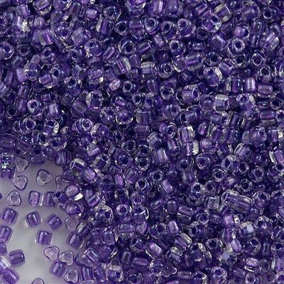 Miyuki Triangle Seed Bead 8/0 Inside Color Lined Sparkle Purple 15g TR8-1531