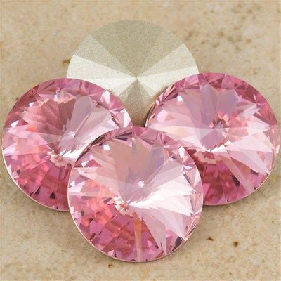 Four Swarovski Crystal 12mm 1122 Rivoli Light Rose (223)