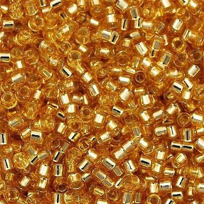 25g Miyuki Delica Seed Bead 11/0 Silver Lined Gold DB42