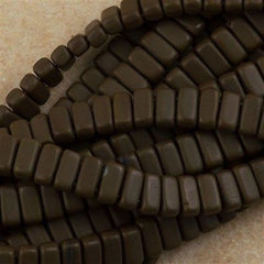 50 CzechMates 3x6mm Two Hole Brick Beads Matte Chocolate Brown (13720M)