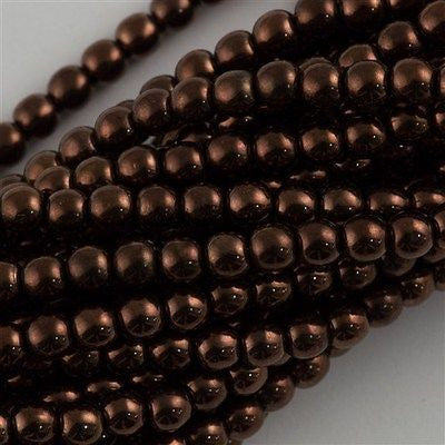 200 Czech 4mm Pressed Glass Round Beads Dark Bronze (14415)