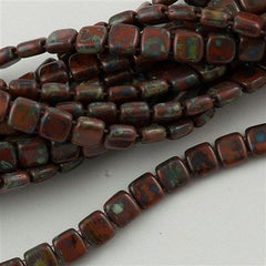 50 CzechMates 6mm Two Hole Tile Beads Umber Picasso (13610T)