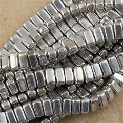 50 CzechMates 3x6mm Two Hole Brick Beads Silver (27000)