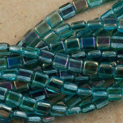 50 CzechMates 6mm Two Hole Tile Beads Aquamarine Twilight (60020W)
