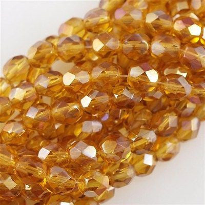 50 Czech Fire Polished 6mm Round Bead Topaz Twilight (10060W)