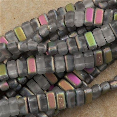 50 CzechMates 3x6mm Two Hole Brick Beads Matte Crystal Vitral BR-00030MV