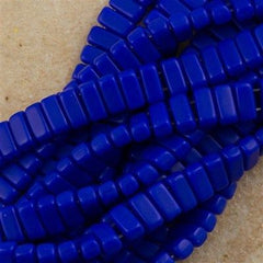 50 CzechMates 3x6mm Two Hole Brick Beads Matte Blue BR-33060M