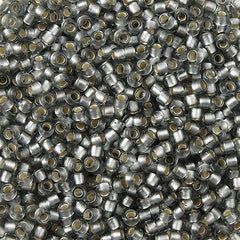 Toho Round Seed Bead 8/0 Silver Lined Transparent Matte Light Gray 5.5-inch tube (29AF)