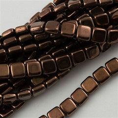 50 CzechMates 6mm Two Hole Tile Beads Dark Bronze (14415)