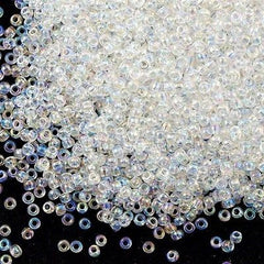 Toho Round Seed Beads 6/0 Transparent Crystal AB 5.5-inch tube (161)