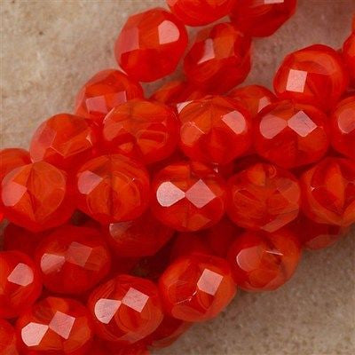 50 Czech Fire Polished 8mm Round Bead Opal Red Orange (91220)