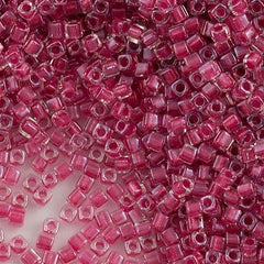 Miyuki 1.8mm Cube Seed Bead Inside Color Lined Rose 15g (2603)