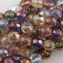 50 Czech Fire Polished 8mm Round Bead Luster Mix Color (10000)