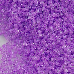 Miyuki 1.8mm Cube Seed Bead Inside Color Lined Lavender 15g (222)
