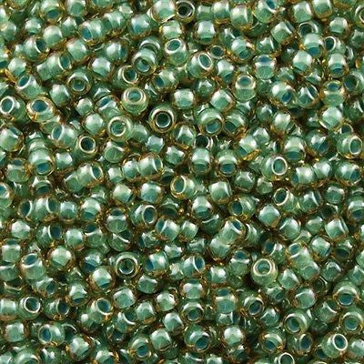 Toho Round Seed Bead 8/0 Inside Color Lined Sage Amber 30g (380)