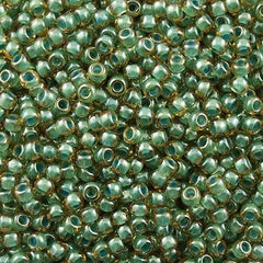 Toho Round Seed Bead 8/0 Inside Color Lined Sage Amber 5.5-inch tube (380)