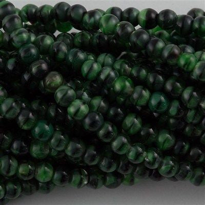 200 Czech 4mm Pressed Glass Round Beads Green with Black (26507)
