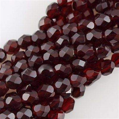 100 Czech Fire Polished 4mm Round Bead Ruby (90100)