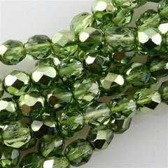 50 Czech Fire Polished 8mm Round Bead Mirror Peridot FP8-97354